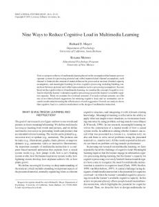 Nine Ways to Reduce Cognitive Load in Multimedia Learning