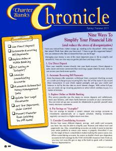 Nine Ways To Simplify Your Financial Life - Charter Bank