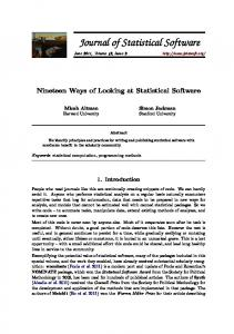 Nineteen Ways of Looking at Statistical Software - Journal of Statistical ...
