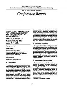 NIST-ASME Workshop on Uncertainty in Dimensional ... - NIST Page