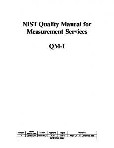 NIST Quality Manual - National Institute of Standards and Technology