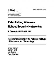 NIST SP 800-97, Establishing Wireless Robust Security ... - NIST Page