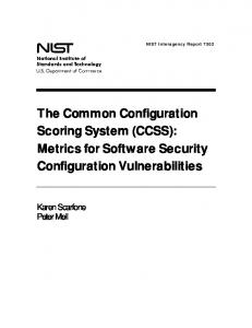 NISTIR 7502, The Common Configuration Scoring ... - NIST Page