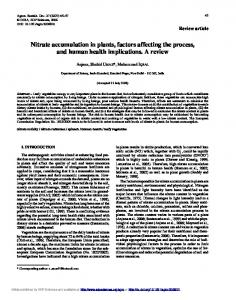 Nitrate accumulation in plants, factors affecting the ... - Springer Link