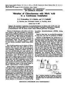 Nitration of Chlorobenzene with Nitric Acid in a Continuous Installation ...