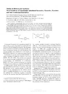 Nitriles in Heterocyclic Synthesis: Novel Syntheses of