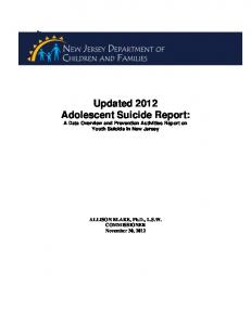 NJ Annual Adolescent Youth Suicide Report - State of New Jersey