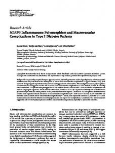 NLRP3 Inflammasome Polymorphism and Macrovascular ...
