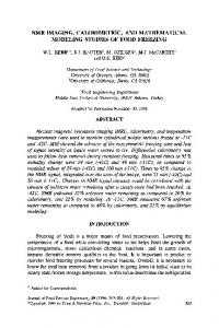 NMR IMAGING, CALORIMETRIC, and ... - Wiley Online Library