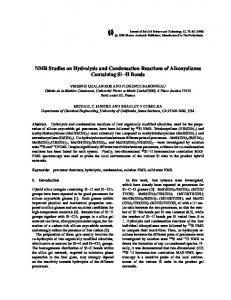NMR Studies on Hydrolysis and Condensation Reactions of