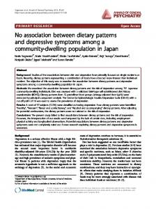 No association between dietary patterns and ... - BioMedSearch