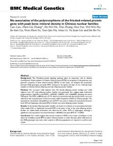 No association of the polymorphisms of the frizzled-related protein ...