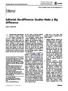 No-difference Studies Make a Big Difference - Clinical Orthopaedics ...