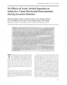 No Effects of Acute Alcohol Ingestion on SUbjective Visual Horizontal ...