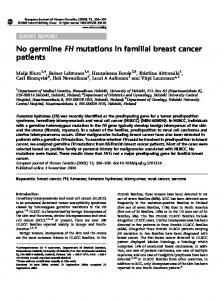 No germline FH mutations in familial breast cancer patients - Nature