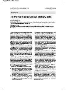 No mental health without primary care - Mental Health and Family ...