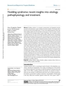 Nodding syndrome: recent insights into etiology ...