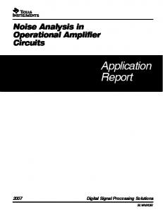 Noise Analysis In Operational Amplifier Circuits ... - Texas Instruments