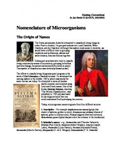 Nomenclature of Microorganisms - Taxonomy from Linnaeaus - The ...