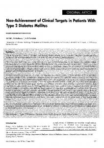 Non-Achievement of Clinical Targets in Patients With Type 2 Diabetes ...