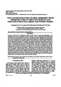 non-cancer human health risk assessment from exposure to heavy