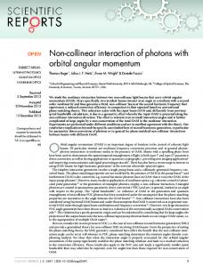 Non-collinear interaction of photons with orbital angular ... - Nature