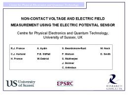 NON-CONTACT VOLTAGE AND ELECTRIC FIELD MEASUREMENT ...