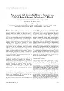Non-genomic Cell Growth Inhibition by Progesterone. Cell Cycle ...