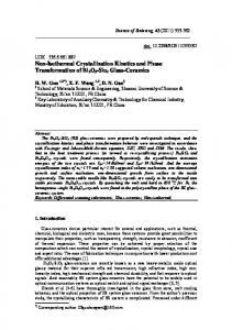 Non-Isothermal Crystallization Kinetics and Phase Transformation of