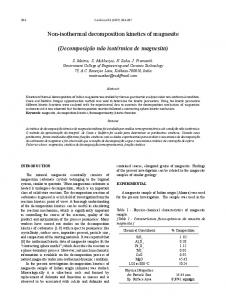 Non-isothermal decomposition kinetics of magnesite - SciELO