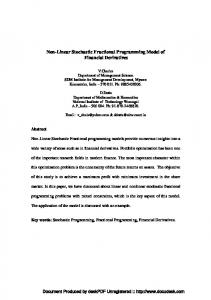 Non-Linear Stochastic Fractional Programming ... - Optimization Online