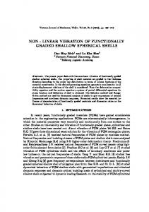 non - linear vibration of functionally graded shallow spherical shells