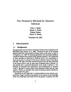 Non Parametric Methods for Genomic Inference - CiteSeerX