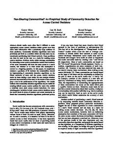 Non-Sharing Communities? An Empirical Study of ... - Lancaster EPrints