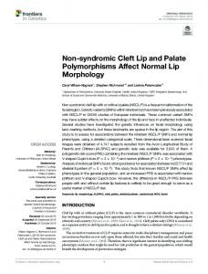 Non-syndromic Cleft Lip and Palate
