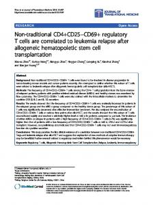 Non-traditional CD4+CD25-CD69+ regulatory T cells are ... - CiteSeerX