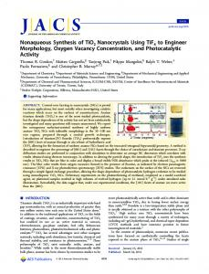 Nonaqueous Synthesis of TiO2 Nanocrystals ... - ACS Publications