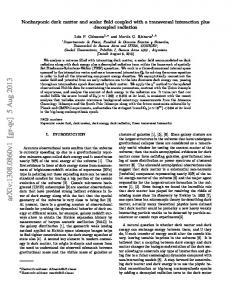 Nonbaryonic dark matter and scalar field coupled with a transversal ...