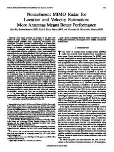 Noncoherent MIMO Radar for Location and Velocity ... - CiteSeerX