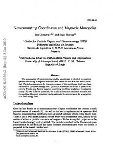 Noncommuting Coordinates and Magnetic Monopoles