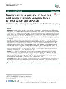 Noncompliance to guidelines in head and neck cancer treatment ...