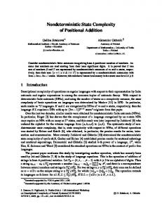 Nondeterministic State Complexity of Positional
