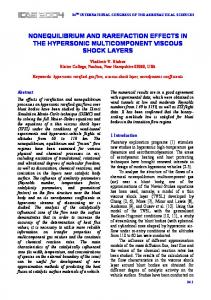 NONEQUILIBRIUM AND RAREFACTION EFFECTS IN THE ...
