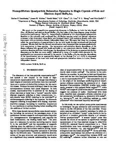 Nonequilibrium Quasiparticle Relaxation Dynamics in Single Crystals ...