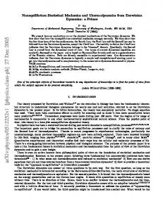 Nonequilibrium Statistical Mechanics and Thermodynamics from ...