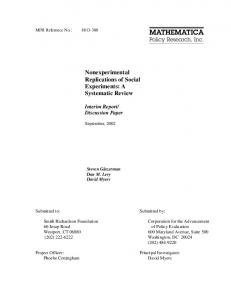Nonexperimental Replications of Social Experiments: A ... - CiteSeerX