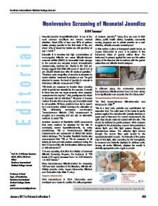 Noninvasive Screening of Neonatal Jaundice - Bangladesh Journals ...