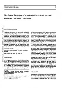 Nonlinear dynamics of a regenerative cutting process