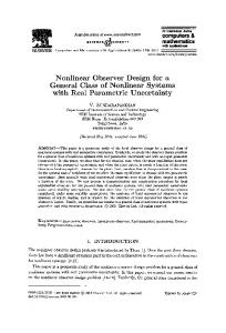 Nonlinear Observer Design for a General Class of Nonlinear Systems ...