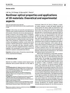 Nonlinear optical properties and applications of 2D